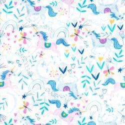 Tissu coton imprimé licornes fond blanc