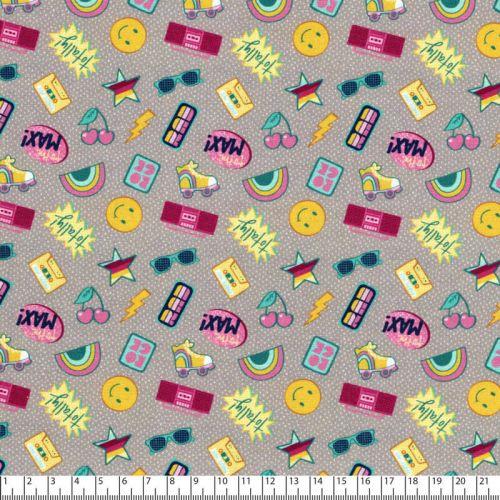 Tissu coton imprimé rétro 80's fond gris