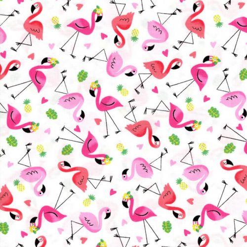 Tissu coton imprimé flamants roses fond blanc