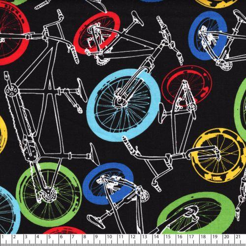 Tissu coton imprimé vélos néons fond noir