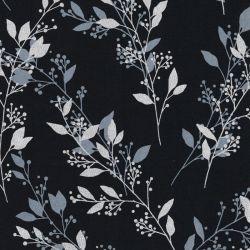 Tissu coton imprimé feuillages argent glitter fond noir