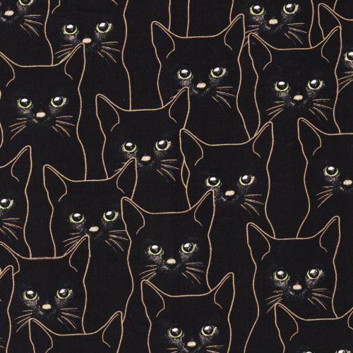 Tissu coton imprimé chats or glitter fond noir