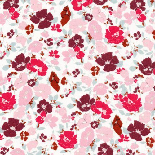 Tissu viscose jardin anglais fond rose