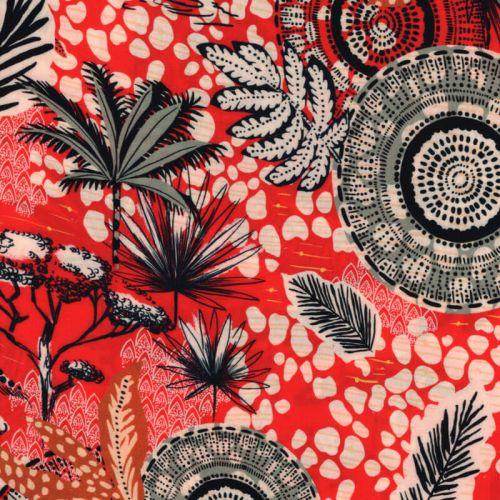 Tissu viscose Colombo fond rouge