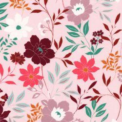 Tissu viscose grand jardin anglais fond rose