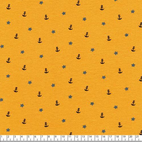 Tissu jersey sea adventure fond moutarde Poppy