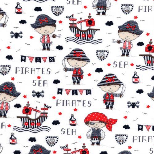 Tissu jersey sea pirates fond blanc Poppy