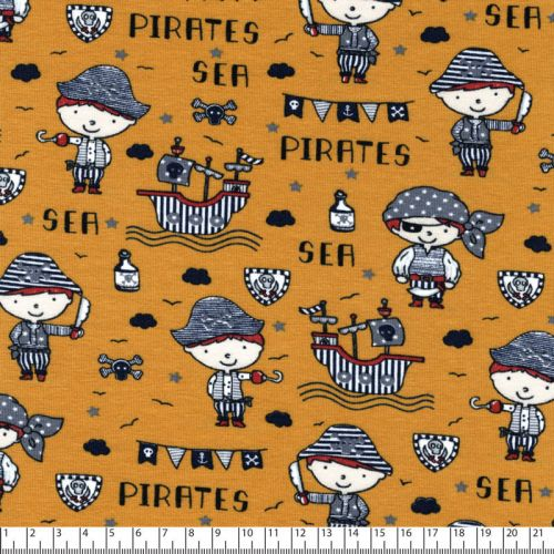 Tissu jersey sea pirates fond moutarde Poppy