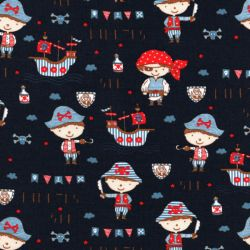 Tissu jersey sea pirates fond bleu marine Poppy