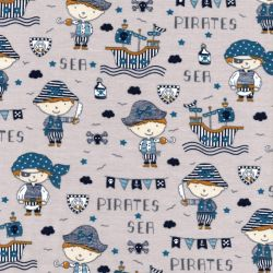 Tissu jersey sea pirates fond gris Poppy