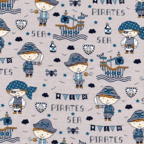 Tissu jersey sea pirates fond gris Poppy