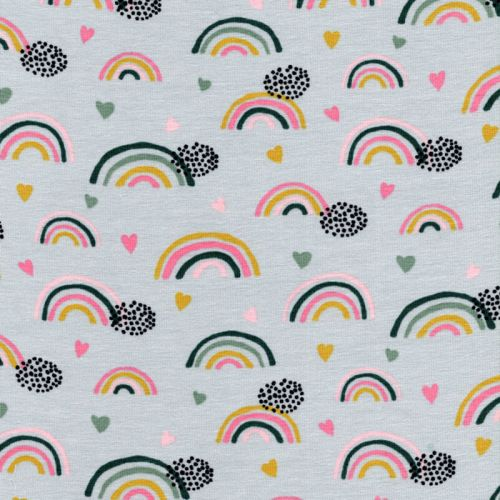 Tissu jersey Bio rainbow & hearts gris Poppy