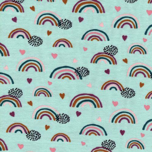 Tissu jersey Bio rainbow & hearts vert Poppy