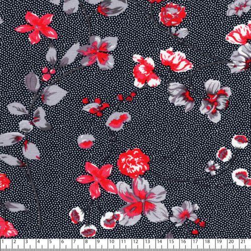 Tissu jersey viscose blossom fond pois noir