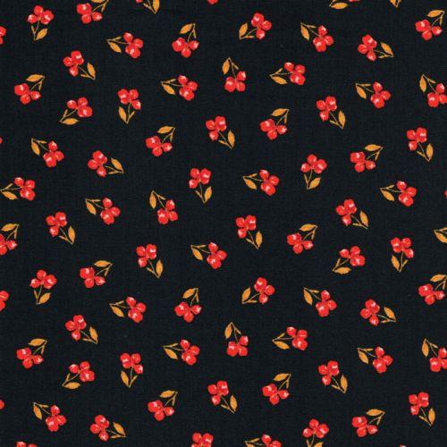 Tissu popeline imprimé Flower fond noir Poppy