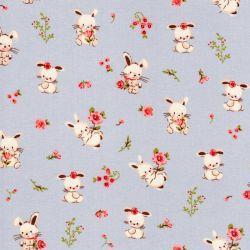 Tissu popeline imprimé sweet bunny fond gris Poppy