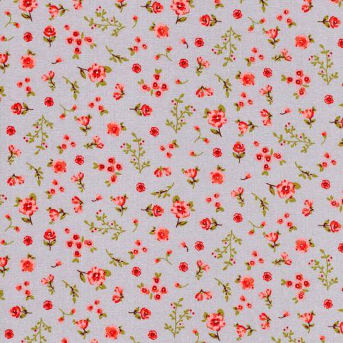 Tissu popeline imprimé sweet flowers fond gris Poppy