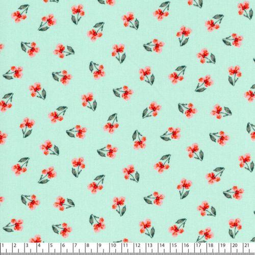 Tissu popeline imprimé Flower fond vert d'eau Poppy