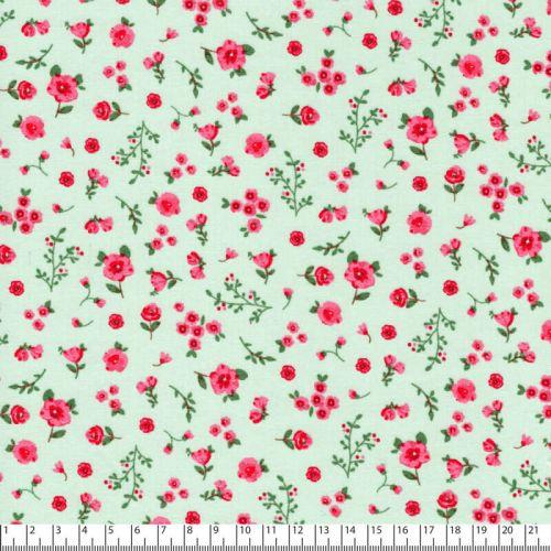 Tissu popeline imprimé sweet flowers fond vert d'eau Poppy