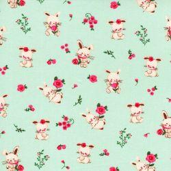 Tissu popeline imprimé sweet bunny fond vert d'eau Poppy