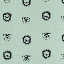 Tissu popeline imprimé lions fond vert d'eau Poppy