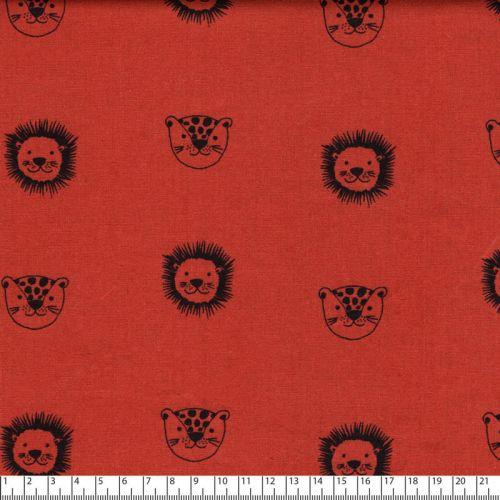 Tissu popeline imprimé lions fond brique Poppy