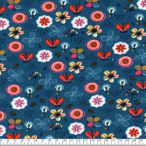 Tissu sweat bio flowers fond bleu Poppy