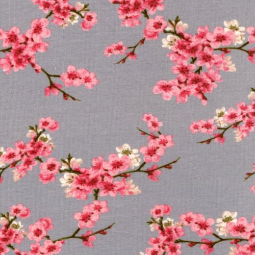 Tissu sweat coton bio cherry blossom gris Poppy