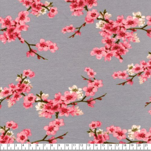 Tissu sweat cherry blossom gris Poppy 95%cotBIO/5%el larg 14