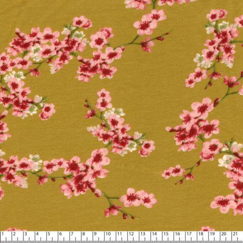 Tissu sweat cherry blossom moutarde Poppy 95%cotBIO/5%el lar