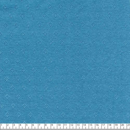 Tissu jersey ajouré pointelle bleu jean