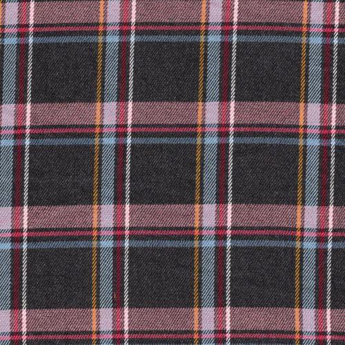 Tissu twill à carreaux écossais gris et rose