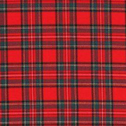 Tissu écossais rouge 63%pol/34%vis/3%sp larg 145 cm