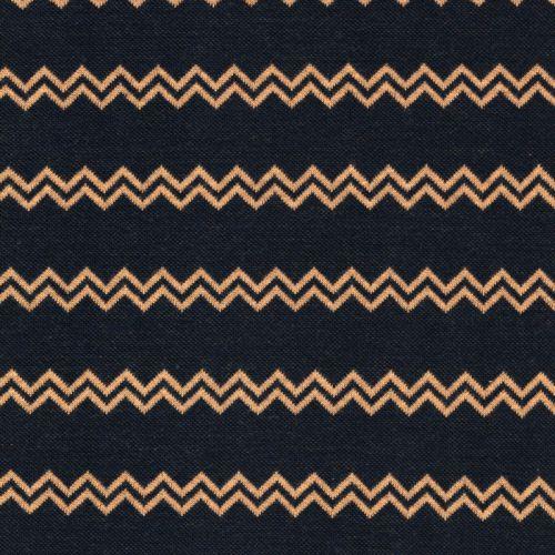 Tissu maille chevrons jaune fond marine