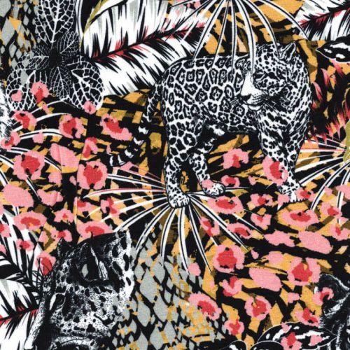 Tissu jersey viscose léopards