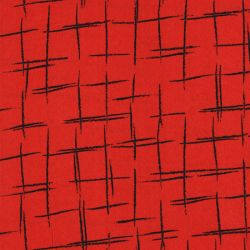 Tissu quadrillage fd rouge 100%pol larg 140 cm