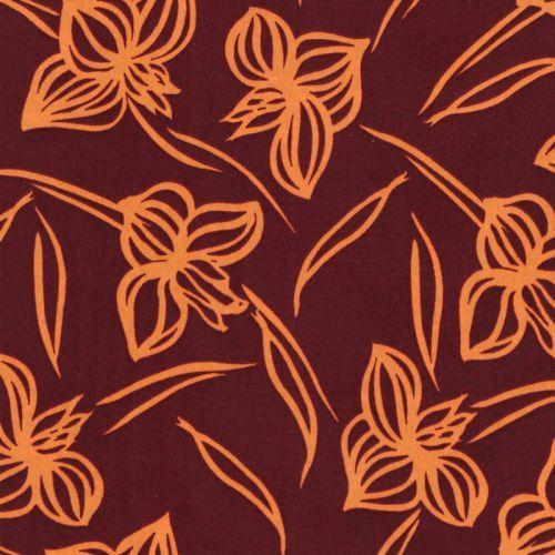 Tissu fleurs stylisées moutarde fd bordeaux 100%pol larg 140