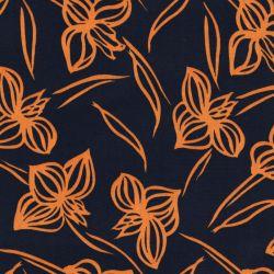 Tissu fleurs stylisées moutarde fd marine 100%pol larg 140 c