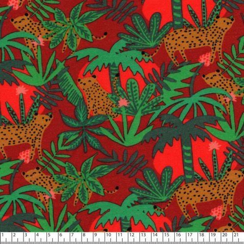 Tissu sweat léger coton Bio Tiger in the forest fond brique Poppy