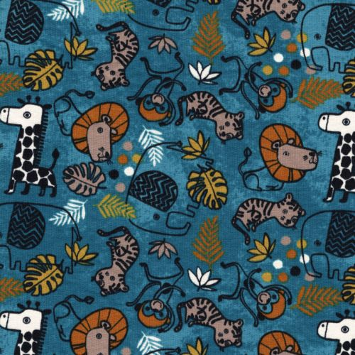 Tissu FT Safari animals fd bleu canard Poppy 94%cot/6%el lar