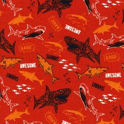Tissu French Terry Awesome sharks fond rouille Poppy