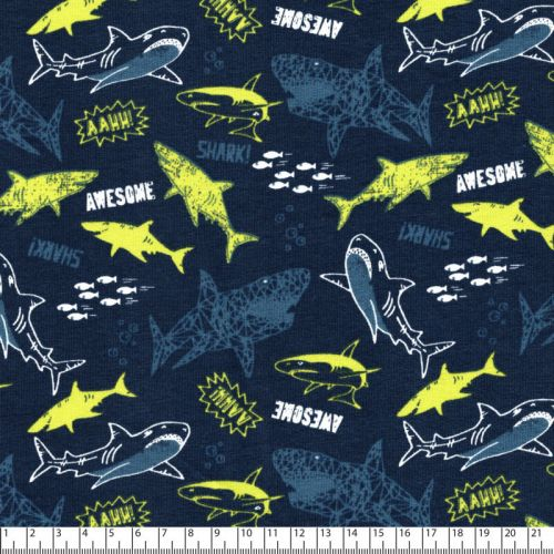 Tissu FT Awesome sharks fd marine Poppy 94%cot/6%el larg 150