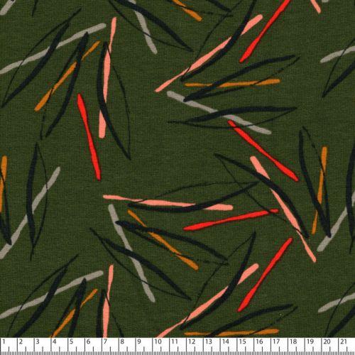 Tissu French Terry Fantasy stripes kaki Poppy