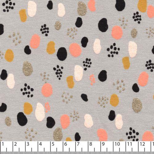 Tissu jersey Glitter dots Poppy gris