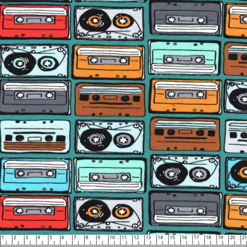 Tissu jersey Music Tapes Poppy