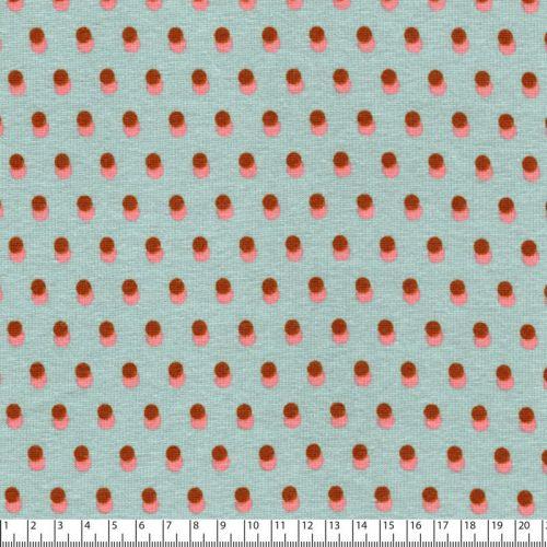 Tissu sweat dots bicolore fd vert doux 50%cot/46%pl/4%el lar