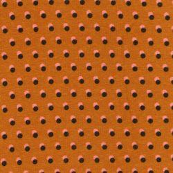 Tissu sweat dots bicolore fond moutarde