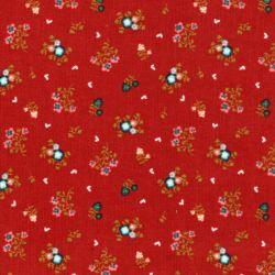 Tissu velours milleraies sweet flowers fond orange Poppy