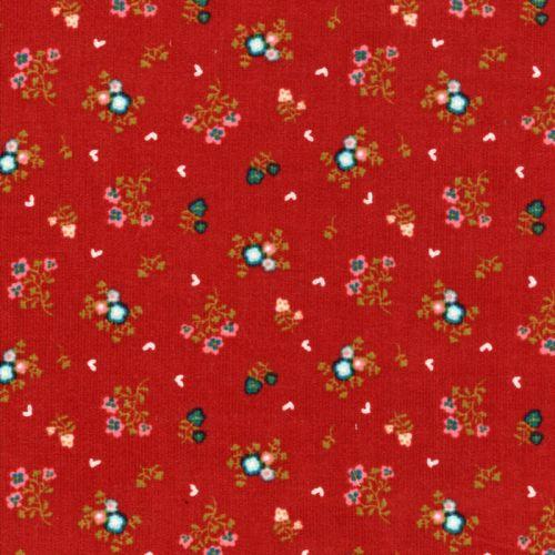 Tissu velours milleraies sweet flowers fd orange Poppy 100%c
