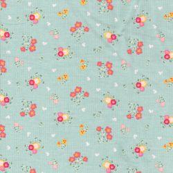 Tissu velours milleraies sweet flowers fond vert clair Poppy